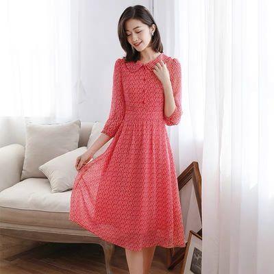 娃娃领雪纺连衣裙女春秋2020年新款红色收腰显瘦七分袖碎花裙子夏