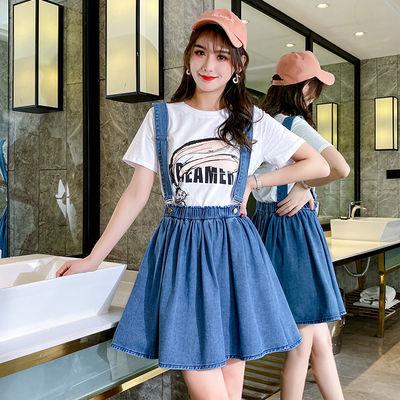 牛仔背带伞裙吊带半身短裙子夏学生韩版加肥加大码女装200斤胖妹