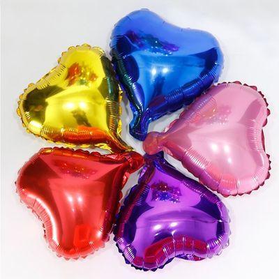派对表白生日婚庆气球10寸加厚铝膜心形爱心飘空求婚布置地推街卖