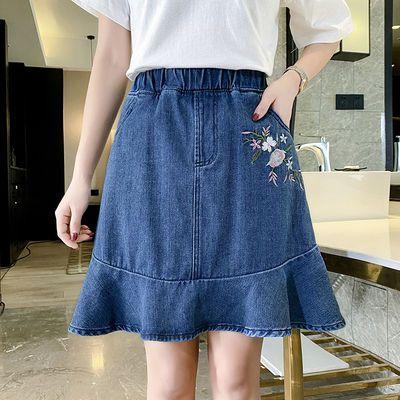 高腰牛仔裙半身鱼尾包臀短裙子夏韩版加肥加大码女装200斤胖妹妹