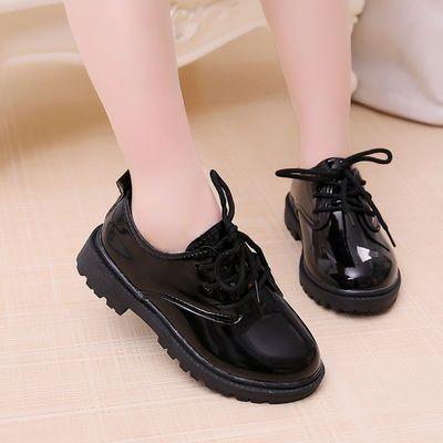 女童皮鞋黑色秋冬新款花童皮鞋男童演出鞋皮鞋儿童表演鞋女童棉鞋