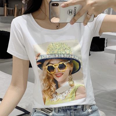 合作宽松潮流春装女韩版女时尚复古新品短袖国风圆领白色上衣白色