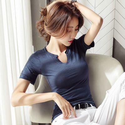 tins恤女彩夏纯棉短袖t恤女白色恤衫中短袖条纹合作春夏衣服女显