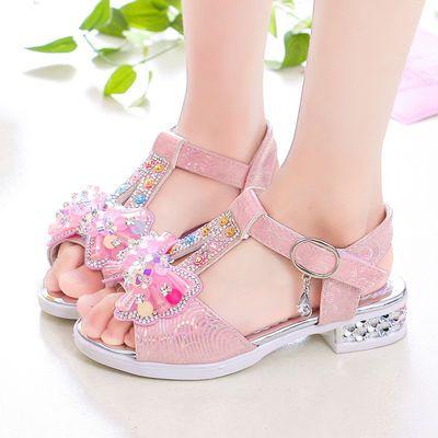 女童高跟凉鞋2020夏季新款韩版网红小女孩公主鞋软底中大童水晶鞋