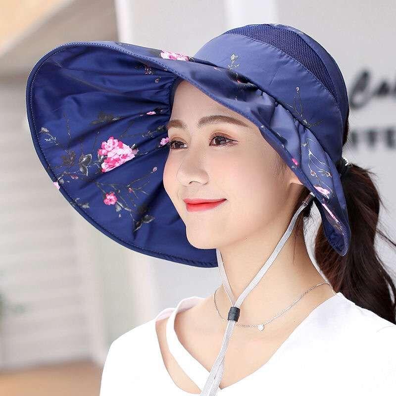 帽子女夏韩版出游太阳帽防紫外线可折叠空顶遮阳帽户外防晒沙滩帽