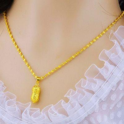 【送戒指+手链+耳钉】越南沙金项链女3d硬金吊坠镀金锁骨链饰品