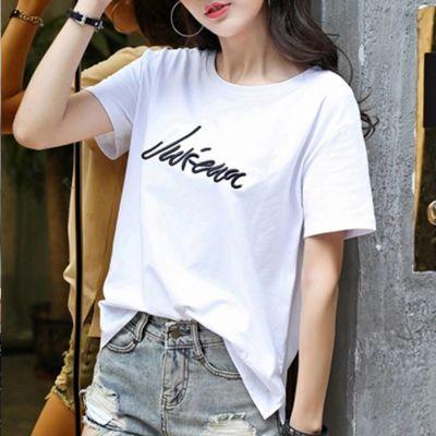夏装潮恤t潮流瘦夏季上衣合作女纯棉短袖t恤女短袖底衫雏菊休闲
