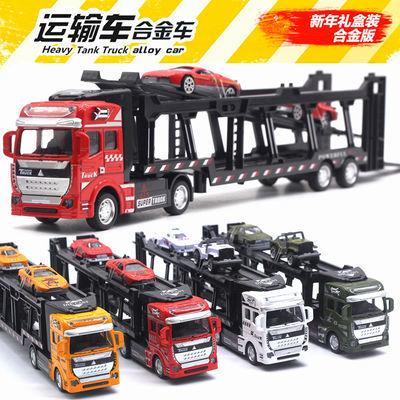 玩具小汽车合金货柜运输车男孩儿童玩具双层回力卡车仿真车模型