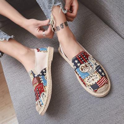 夏季韩版潮流百搭一脚蹬懒人豆豆板鞋男士休闲英伦老北京帆布鞋子