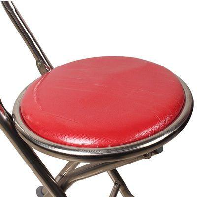 老人拐�E椅四脚带凳老年人手杖多功能拐棍高低可调防滑折叠拐杖凳
