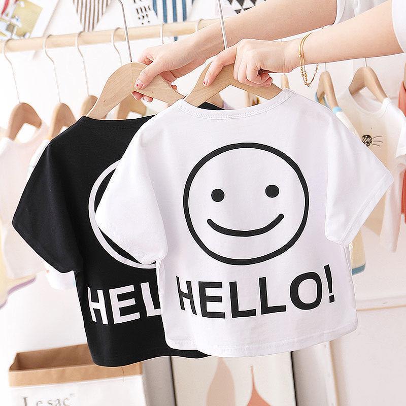 夏季儿童新款短袖T恤2021印花半袖薄款纯色小中大童洋气上衣男女