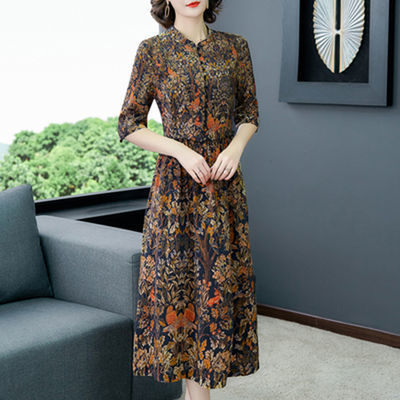 贵夫人香云纱碎花连衣裙高端大码女装减龄气质中年妈妈宽松五分袖