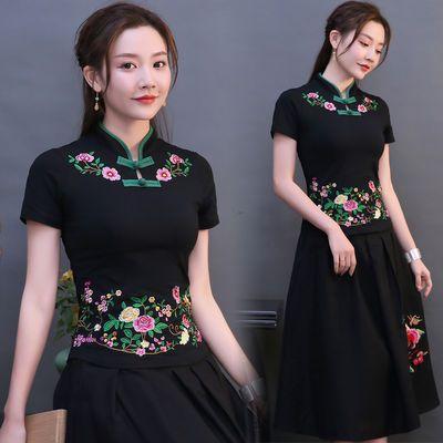 衣服彩夏韩版女合作夏新潮搭白色短袖女夏装侣雏菊修身春季短袖