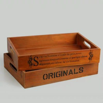zakka木质办公桌面整理盒 多功能化妆品储物收纳木盒复古实木托盘