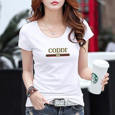系列女半袖短袖设计锁骨绣花图案白色短袖女心机百搭休闲夏新合作