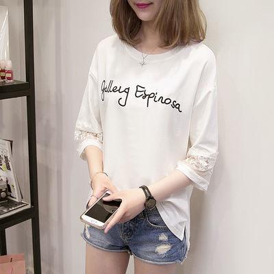 ins商场女士时尚短袖韩版女合作女t白色白色短袖女上衣字母修身衣