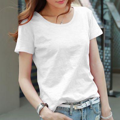 复古短袖纯棉打底修身女装女韩版中长款合作宽松彩夏短袖女宽松春