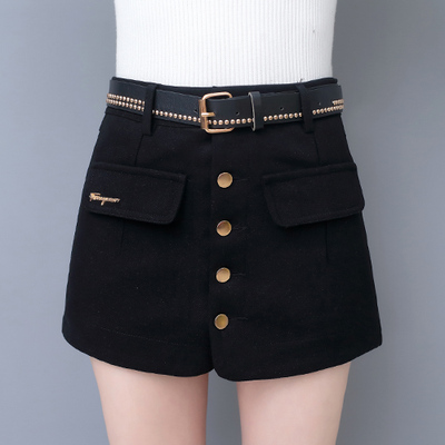 今天发货 优质春季新款毛呢短裤女秋冬款格子显瘦靴裤呢子短裤裙