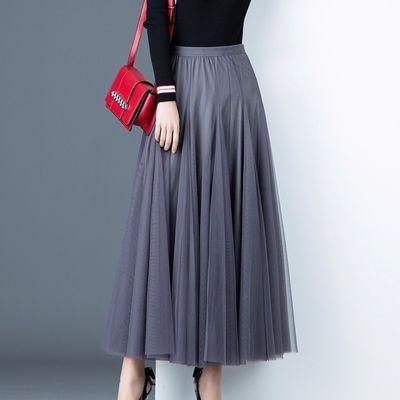 超火长款a型大短裙咖啡色牛女生半身裙收腰蛋糕棉质弹力九宝蓝色