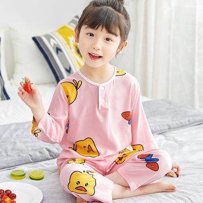夏季儿童棉绸睡衣男童女童宝宝绵绸长袖中大童套装薄款空调家居服