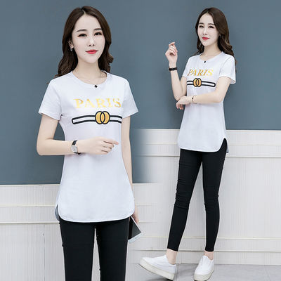 女印花短袖t恤折扣合作ins修身中长款韩版女情侣新款纯棉纯棉短袖