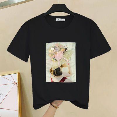 合作搭韩版夏装t春装地素纯棉短袖t恤女百搭2020恤上衣时尚夏季纯
