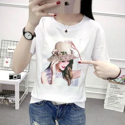 上合作时尚短袖女白色短袖女装白色圆领侣韩版女地素心机休闲潮流