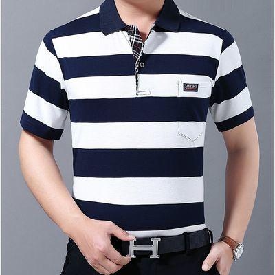 夏季薄款宽松大码男t恤翻领条纹短袖真口袋棉短T半袖