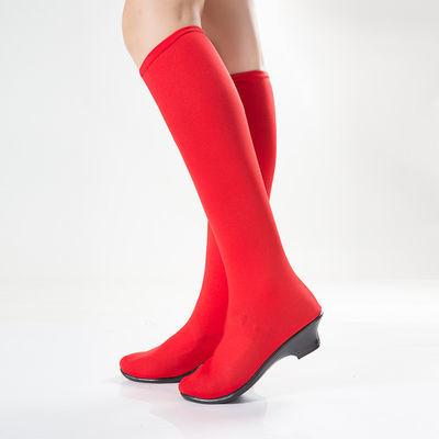 23739/靴子水兵舞红鞋套成人舞靴蒙古靴演出鞋黑色红色舞蹈鞋广场舞靴子