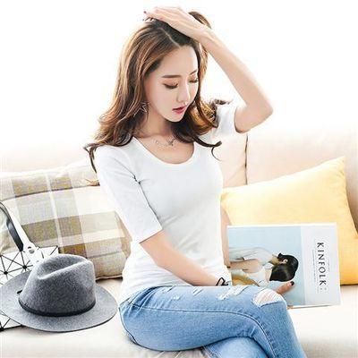 合作新品纯棉短袖t恤女宽松女薄款白色短袖纯棉内商场潮图案夏季