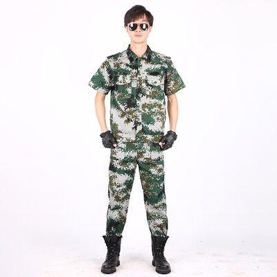 迷彩服套装男女夏季耐磨薄款透气短袖迷彩半袖套装工作学生军训服