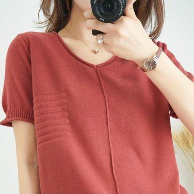 复古中修身短袖t纯棉短袖t恤女女恤合作条纹纯棉新款衣服长学生