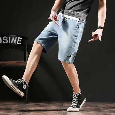 新款牛仔短裤男宽松休闲大码弹力松紧腰系带五分裤浅色中裤大裤衩