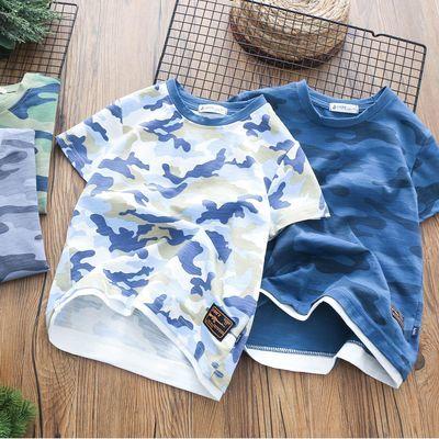 男童迷彩短袖儿童短袖T恤男孩半袖衫中大童迷彩T恤2020夏季新款
