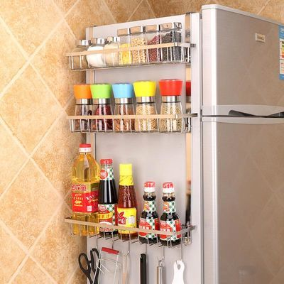 厨房304不锈钢冰箱置物架多功能侧壁免打孔挂架调料多层加宽收纳