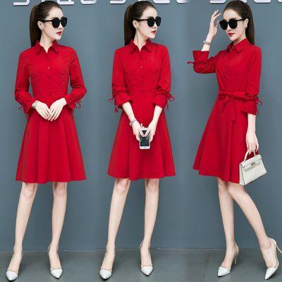 春连衣裙子2020新款修身中长款时尚长袖中长款气质红色衬衫裙