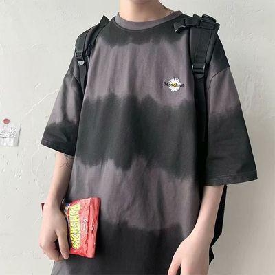 100%纯棉夏季港风ins扎染潮流短袖T恤男渐变五分半袖韩版宽松潮流