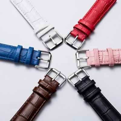 美康汇 竹节纹平真皮表带男女士手表配件表带皮女士表带代用dw