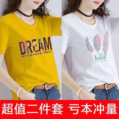 2020韩版t地素女中长款字母短袖女士新品图案短袖女宽松大码合作