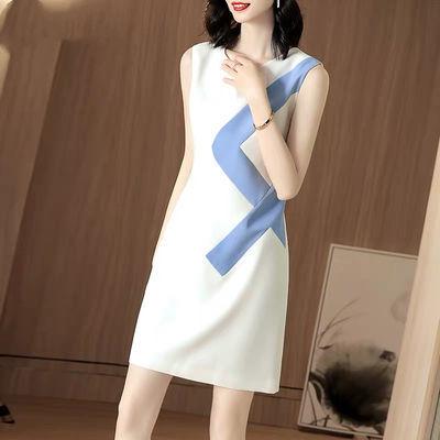 仿真丝无袖连衣裙2020夏季新款女装时尚圆领修身显瘦小个子中长裙