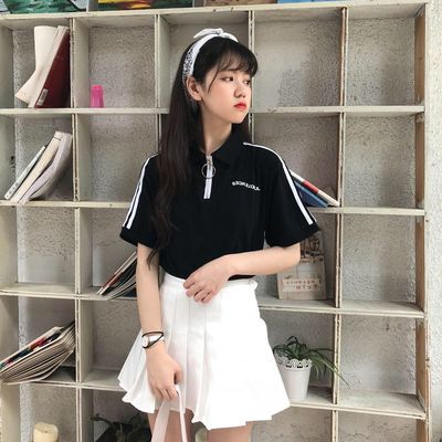 ins潮夏季可爱纯色翻领拉链短袖T恤少女学生装韩版polo衫两件套装
