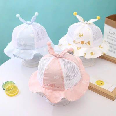 儿童遮阳帽子春夏薄款6-12个月男女宝宝渔夫帽太阳帽凉帽盆帽网帽