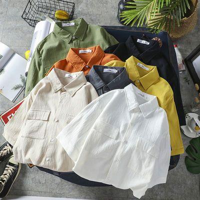男士短袖休闲白衬衫宽松职业商务正装韩版潮流百搭衬衣长袖黑色潮