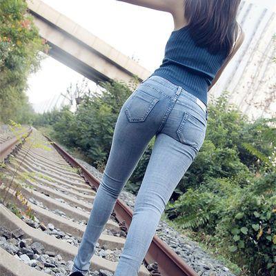 2020春季牛仔裤女高腰长裤韩版清新浅蓝色学生弹力显瘦小脚九分裤
