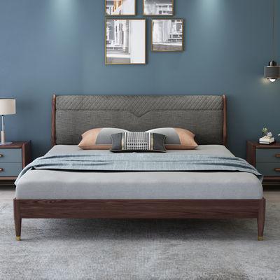北美进口白蜡木实木床1.8米1.5m双人床北欧轻奢床高箱储物床婚床