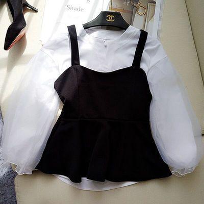 白衬衫修身V领欧根纱泡泡灯笼袖衬衣少女学院风背心上衣两件套装
