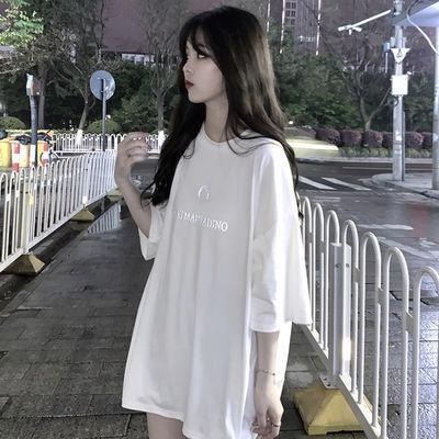 夏季t恤女短袖宽松慵懒风白色上衣网红款韩版体恤潮半袖印花刺绣