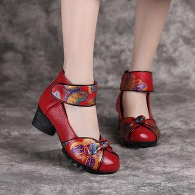 博芙妮春季新款民族风女鞋真皮妈妈鞋粗跟中老年复古皮鞋跳舞女鞋