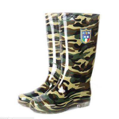 高筒工地男士雨鞋长筒劳保迷彩加厚耐磨底水鞋男胶鞋防水防滑雨靴