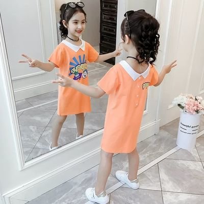 女童短袖t恤2020童装新品儿童半袖夏季中长款上衣小女孩洋气裙子